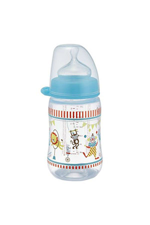 Nip Wide Neck Bottle 260 ml Anti-Kolik Dino/Sirkus Biberon